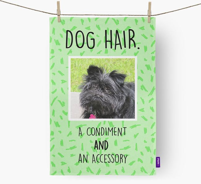Photo Upload 'Dog Hair.' Dish Towel with Affenpinscher Picture