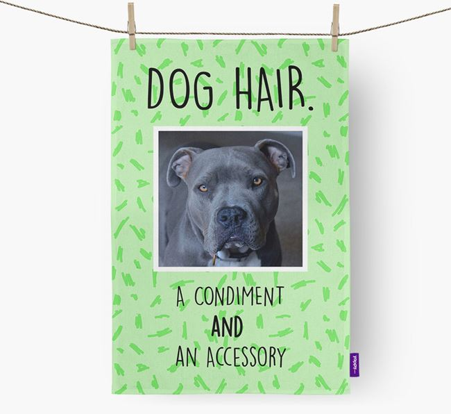 Photo Upload 'Dog Hair.' Dish Towel with American Pit Bull Terrier Picture