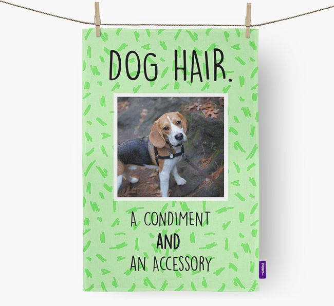Photo Upload 'Dog Hair.' Dish Towel with Beagle Picture
