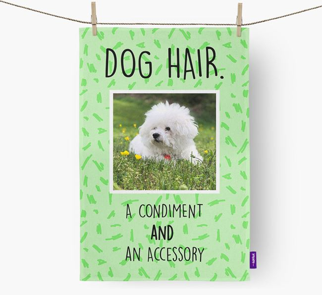 Photo Upload 'Dog Hair.' Dish Towel with Bichon Frise Picture