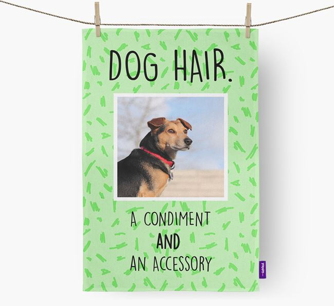 Photo Upload 'Dog Hair.' Dish Towel with Blue Lacy Picture