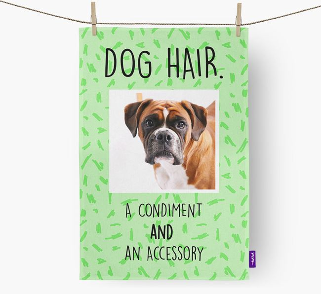 Photo Upload 'Dog Hair.' Dish Towel with Boxer Picture