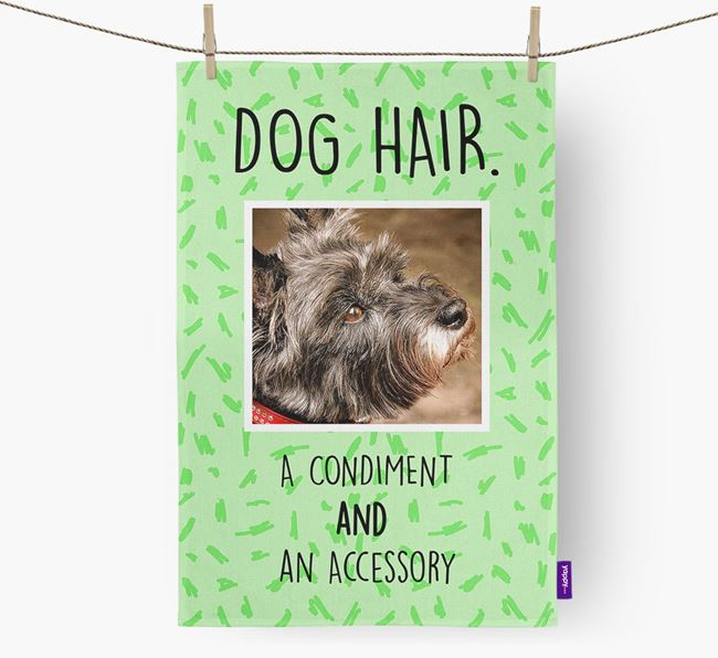 Photo Upload 'Dog Hair.' Dish Towel with Cairn Terrier Picture