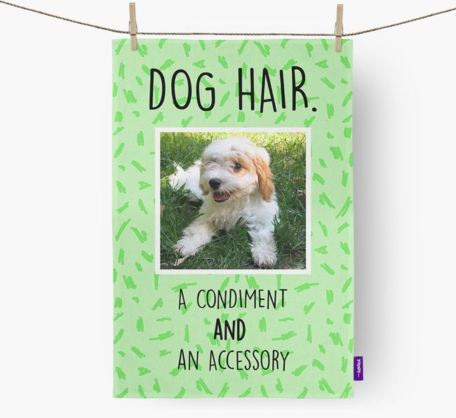 Photo Upload 'Dog Hair.' Dish Towel with Cavachon Picture