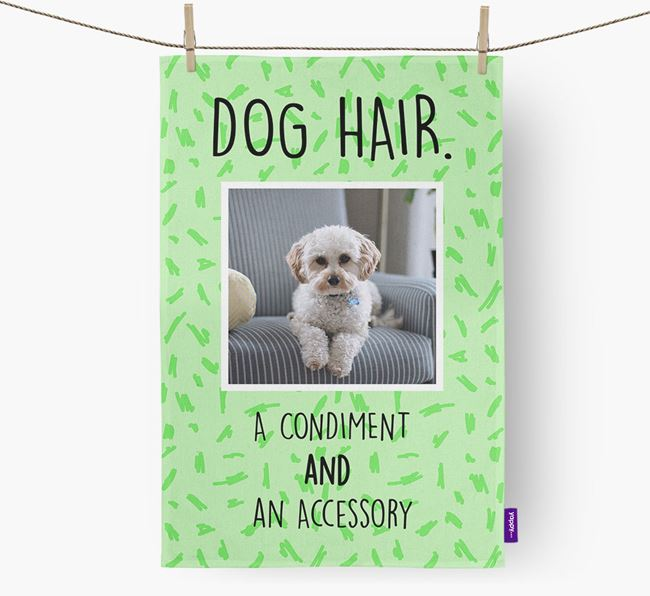 Photo Upload 'Dog Hair.' Dish Towel with Cavapoo Picture