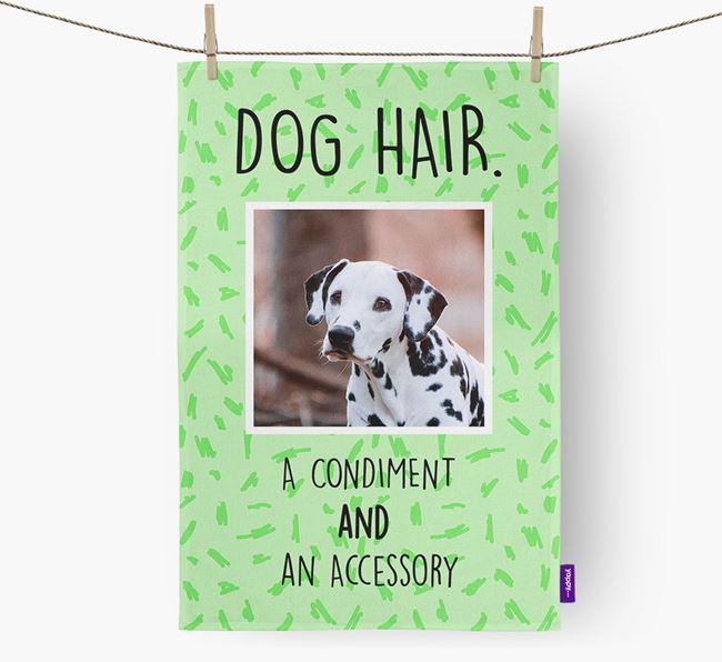 Photo Upload 'Dog Hair.' Dish Towel with Dalmatian Picture
