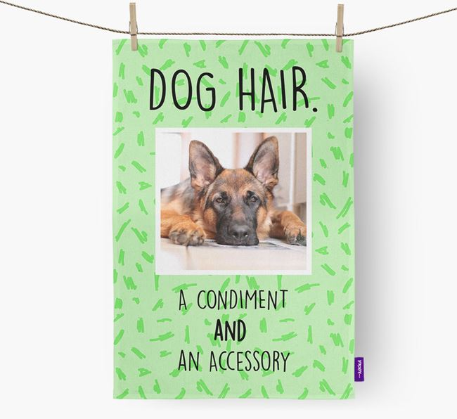 Photo Upload 'Dog Hair.' Dish Towel with German Shepherd Picture