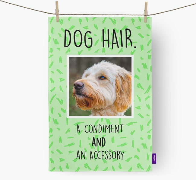 Photo Upload 'Dog Hair.' Dish Towel with Goldendoodle Picture