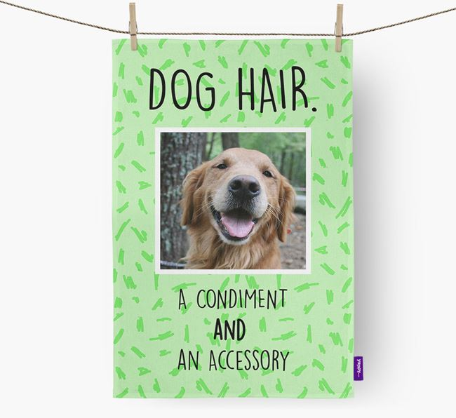 Photo Upload 'Dog Hair.' Dish Towel with Golden Retriever Picture