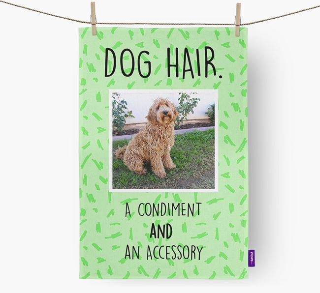 Photo Upload 'Dog Hair.' Dish Towel with Labradoodle Picture