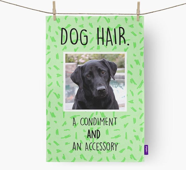 Photo Upload 'Dog Hair.' Dish Towel with Labrador Retriever Picture