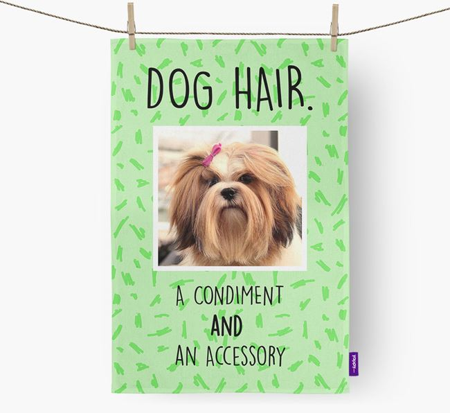 Photo Upload 'Dog Hair.' Dish Towel with Lhasa Apso Picture