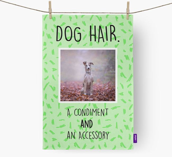 Photo Upload 'Dog Hair.' Dish Towel with Lurcher Picture