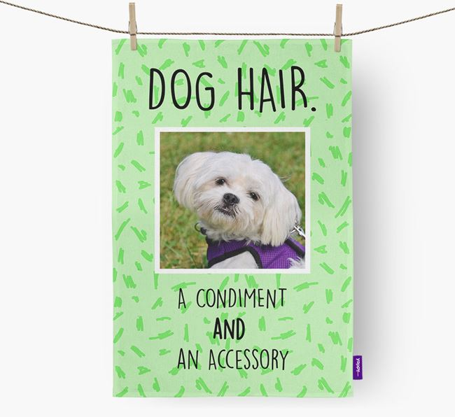 Photo Upload 'Dog Hair.' Dish Towel with Maltese Picture