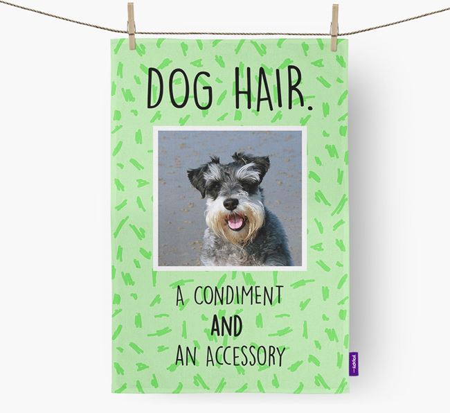 Photo Upload 'Dog Hair.' Dish Towel with Schnauzer Picture