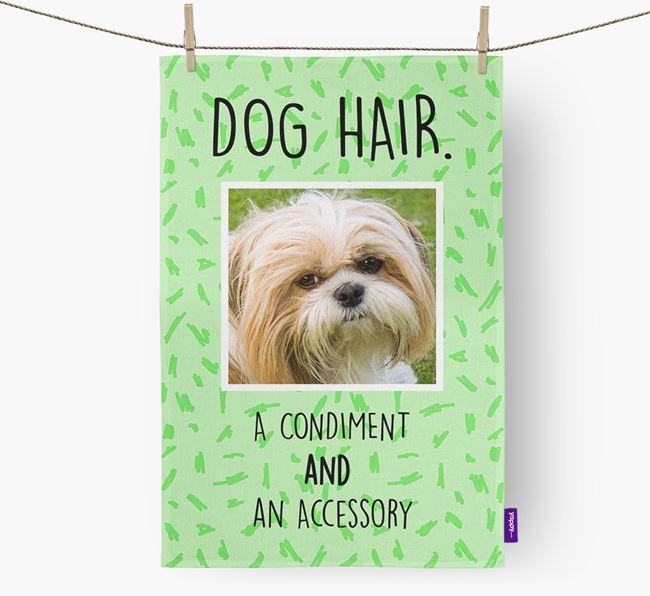 Photo Upload 'Dog Hair.' Dish Towel with Shih Tzu Picture