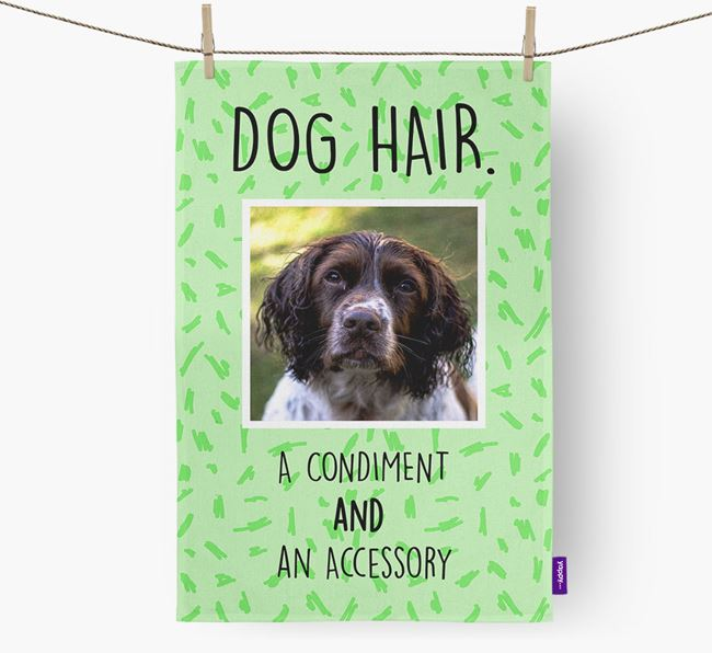 Photo Upload 'Dog Hair.' Dish Towel with Springer Spaniel Picture