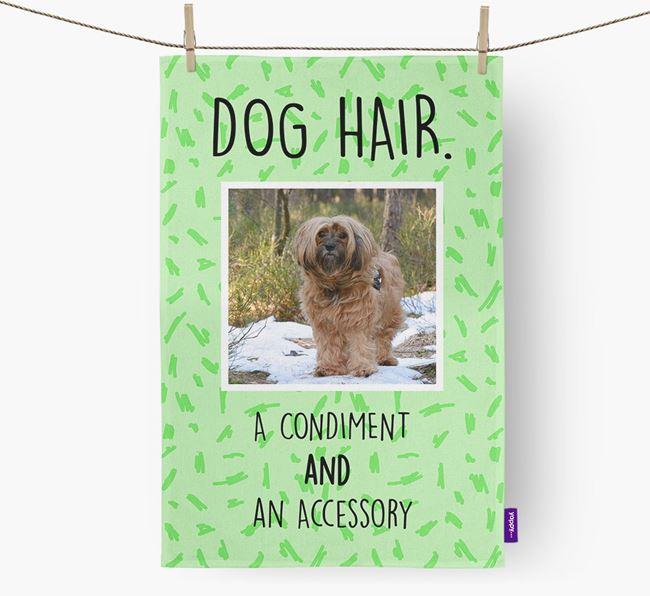 Photo Upload 'Dog Hair.' Dish Towel with Tibetan Terrier Picture