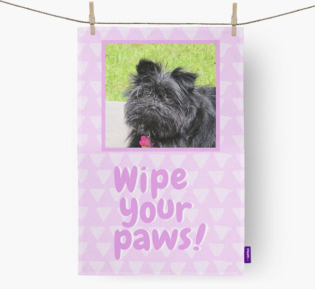 Photo Upload 'Wipe Your Paws' Dish Towel with Affenpinscher Picture