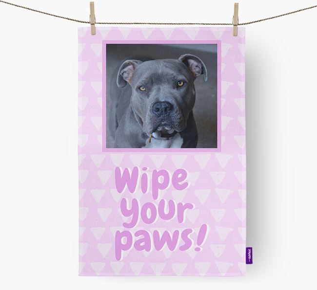 Photo Upload 'Wipe Your Paws' Dish Towel with American Pit Bull Terrier Picture