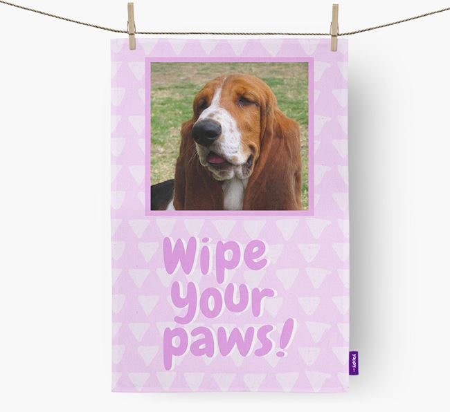 Photo Upload 'Wipe Your Paws' Dish Towel with Basset Hound Picture