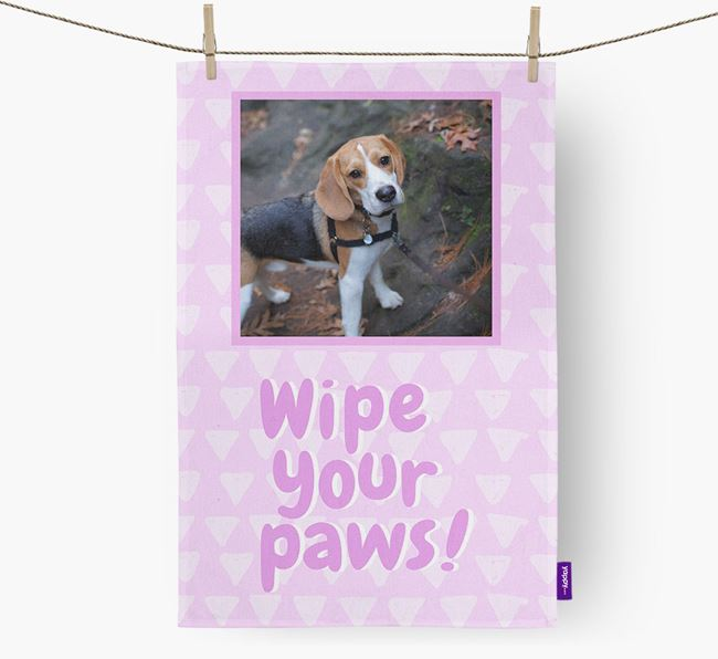 Photo Upload 'Wipe Your Paws' Dish Towel with Beagle Picture