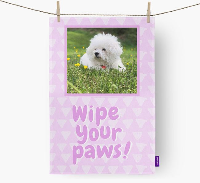 Photo Upload 'Wipe Your Paws' Dish Towel with Bichon Frise Picture