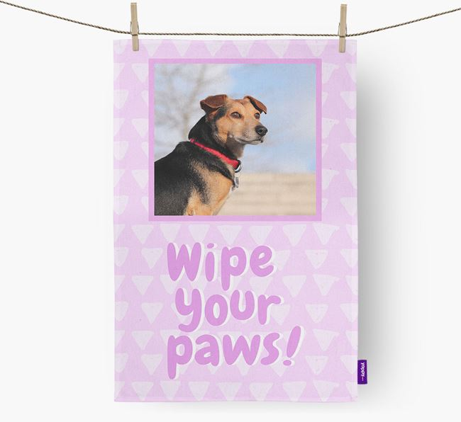 Photo Upload 'Wipe Your Paws' Tea Towel with Black and Tan Coonhound Picture