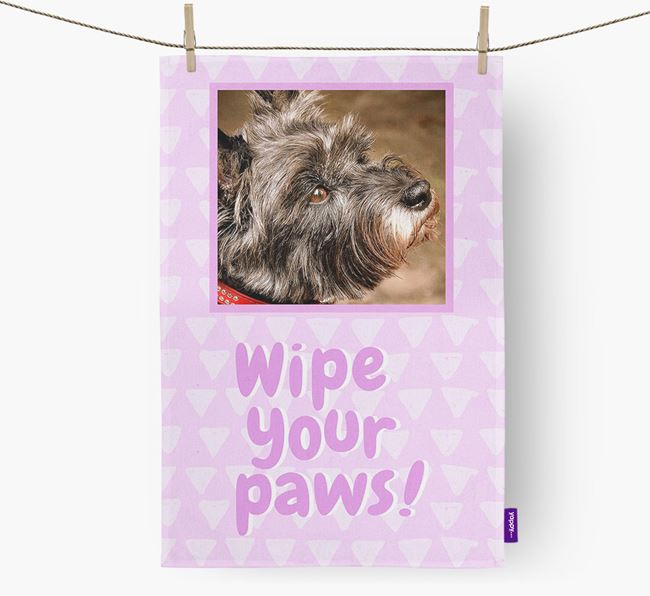 Photo Upload 'Wipe Your Paws' Dish Towel with Cairn Terrier Picture