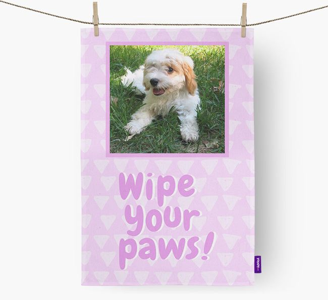 Photo Upload 'Wipe Your Paws' Dish Towel with Cavachon Picture