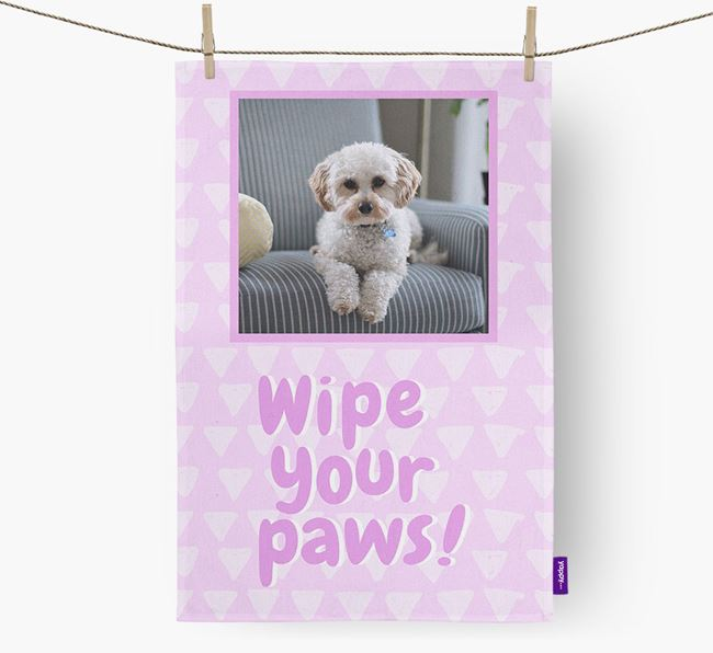 Photo Upload 'Wipe Your Paws' Dish Towel with Cavapoo Picture