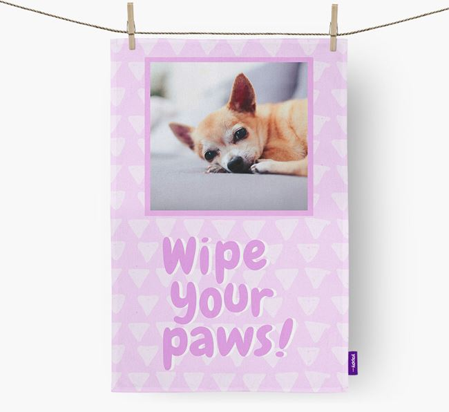 Photo Upload 'Wipe Your Paws' Dish Towel with Chihuahua Picture