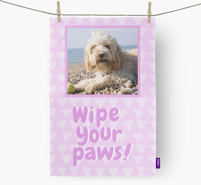 Photo Upload 'Wipe Your Paws' Dish Towel with Cockapoo Picture