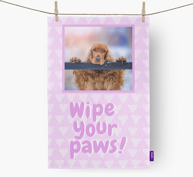 Photo Upload 'Wipe Your Paws' Dish Towel with Cocker Spaniel Picture