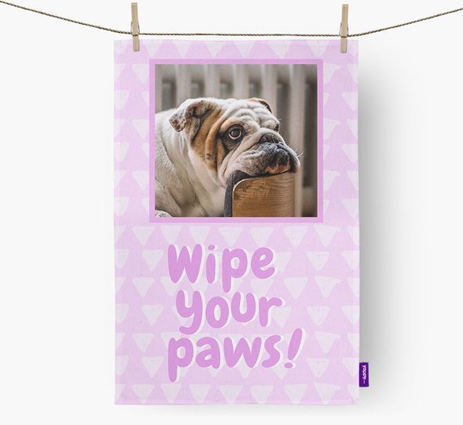 Photo Upload 'Wipe Your Paws' Dish Towel with English Bulldog Picture