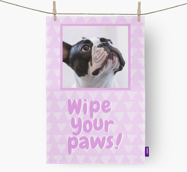 Photo Upload 'Wipe Your Paws' Dish Towel with French Bulldog Picture