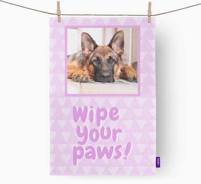 Photo Upload 'Wipe Your Paws' Dish Towel with German Shepherd Picture