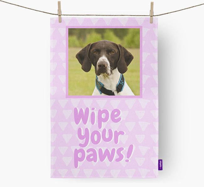 Photo Upload 'Wipe Your Paws' Dish Towel with German Shorthaired Pointer Picture