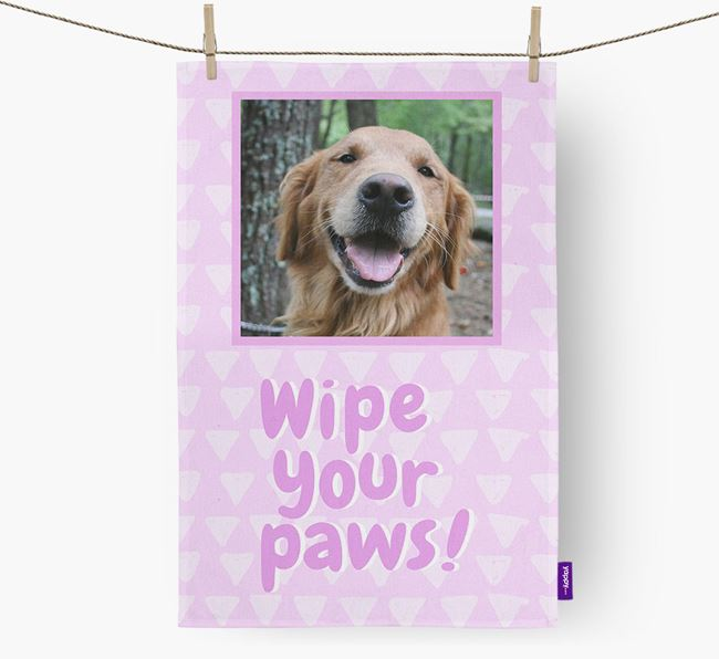 Photo Upload 'Wipe Your Paws' Dish Towel with Golden Retriever Picture