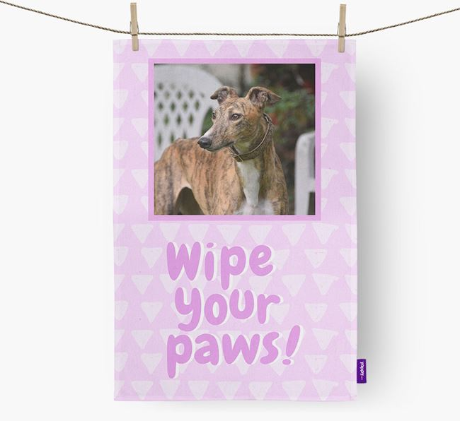 Photo Upload 'Wipe Your Paws' Dish Towel with Greyhound Picture