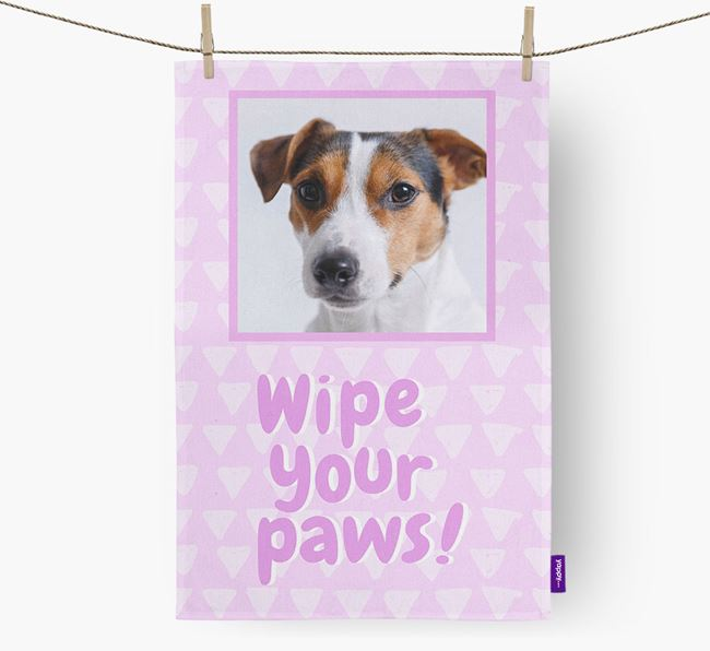 Photo Upload 'Wipe Your Paws' Dish Towel with Jack Russell Terrier Picture