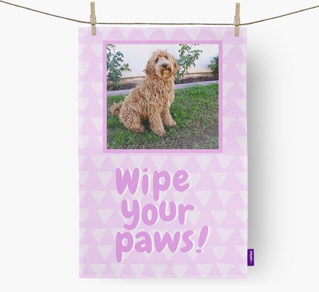 Photo Upload 'Wipe Your Paws' Dish Towel with Labradoodle Picture