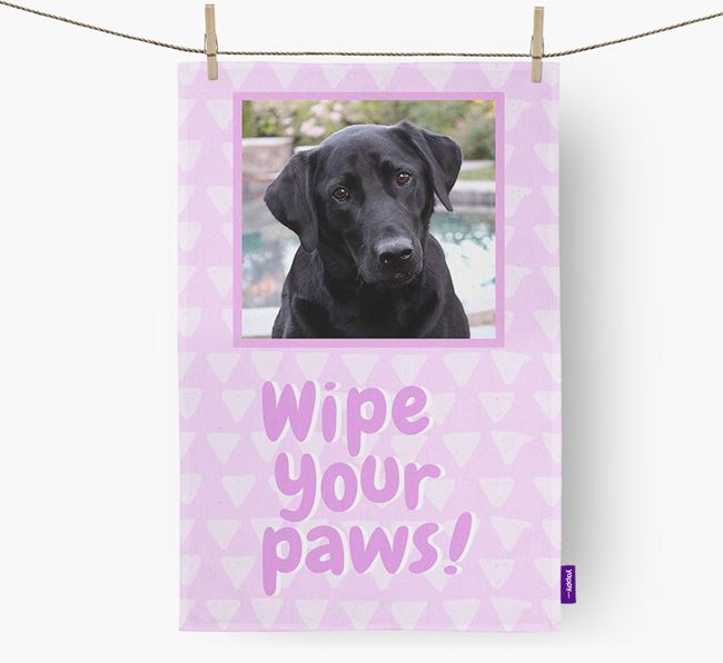 Photo Upload 'Wipe Your Paws' Dish Towel with Labrador Retriever Picture