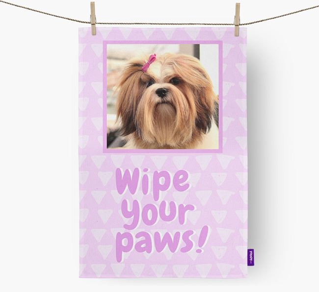 Photo Upload 'Wipe Your Paws' Dish Towel with Lhasa Apso Picture