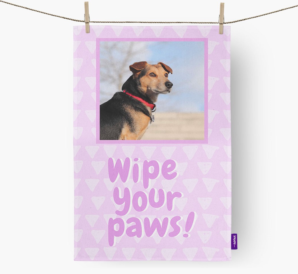 Wipe Your Paws' Dish Towel with photo of your Lhasapoo front view