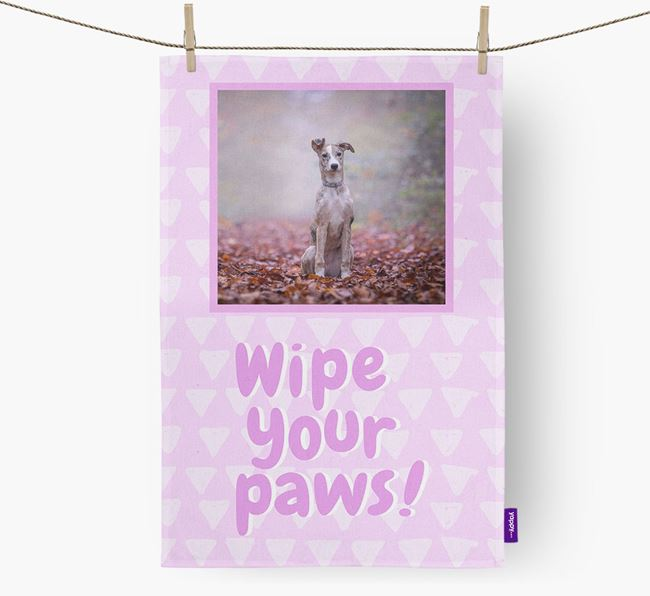 Photo Upload 'Wipe Your Paws' Dish Towel with Lurcher Picture