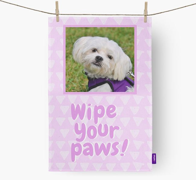 Photo Upload 'Wipe Your Paws' Dish Towel with Maltese Picture