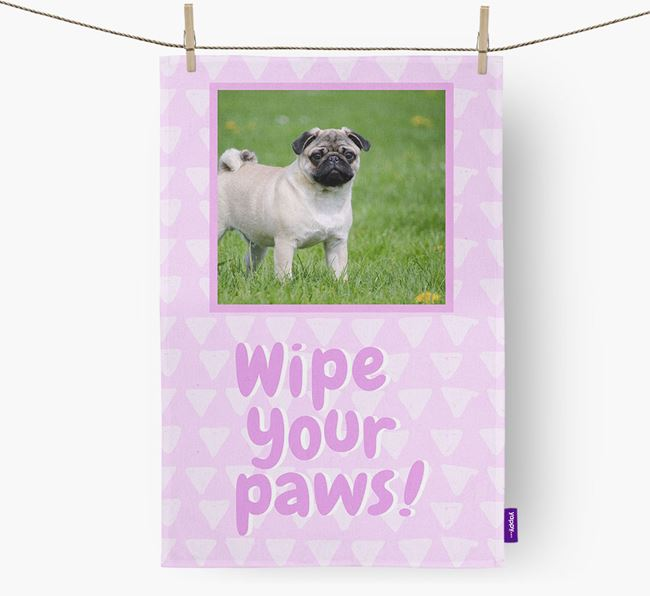 Photo Upload 'Wipe Your Paws' Dish Towel with Pug Picture
