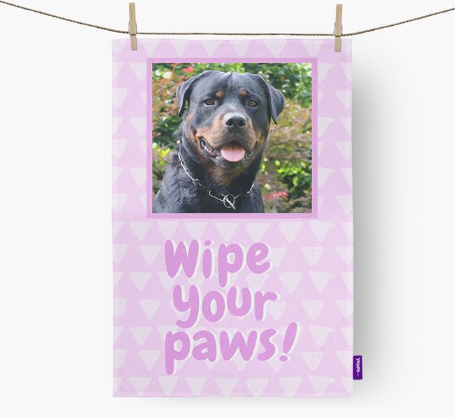 Photo Upload 'Wipe Your Paws' Dish Towel with Rottweiler Picture