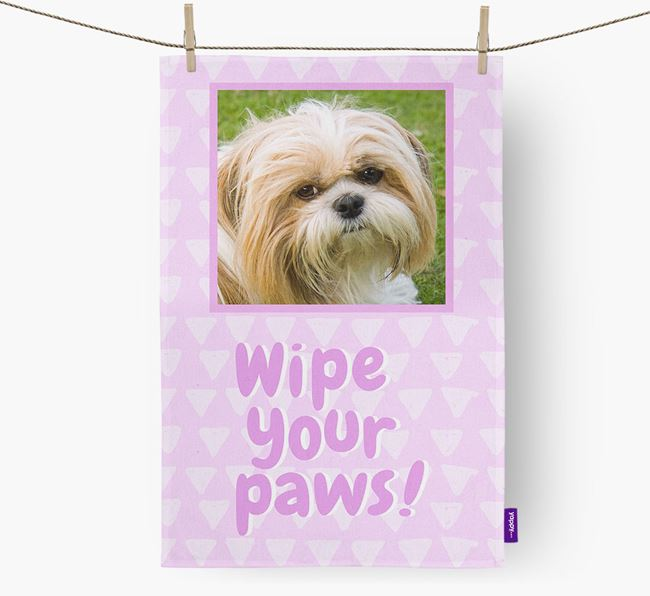 Photo Upload 'Wipe Your Paws' Dish Towel with Shih Tzu Picture
